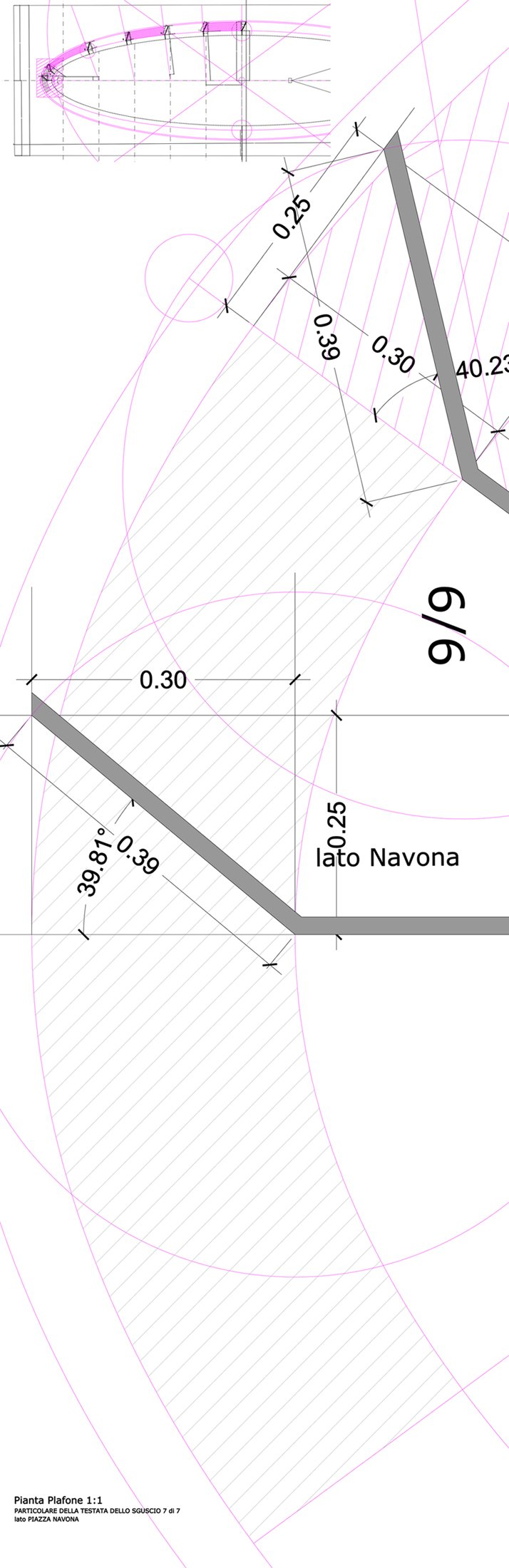 disegno tecnico ad uso della costruzione della dima in gesso dello sguscio terminale di bordo }