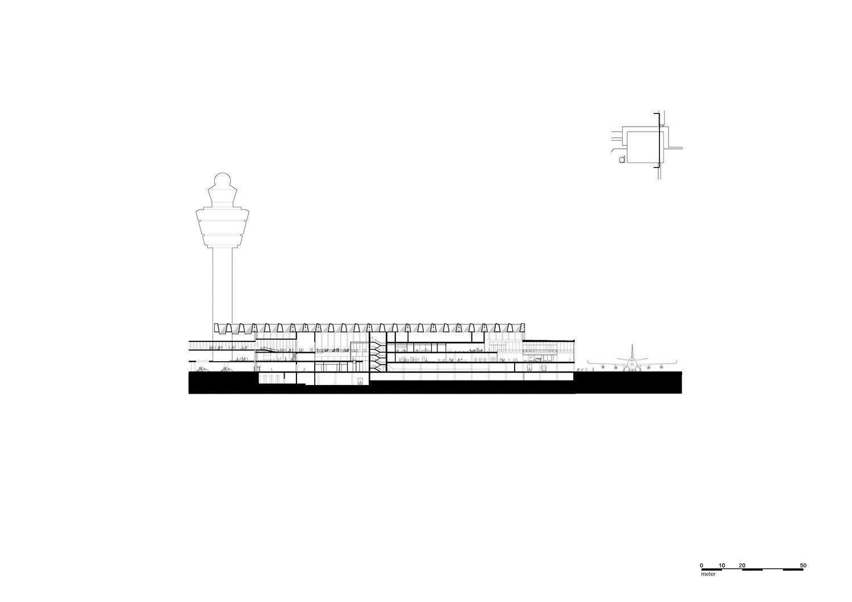 Cross section through connecting bridge and core KAAN Architecten}