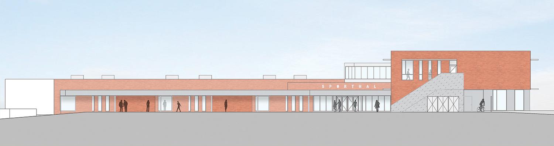 Sports and Technology block South Elevation Coady Architects / ELD Partnership}