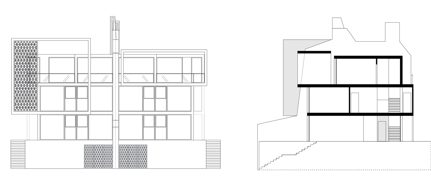 The Twin Houses elevations }
