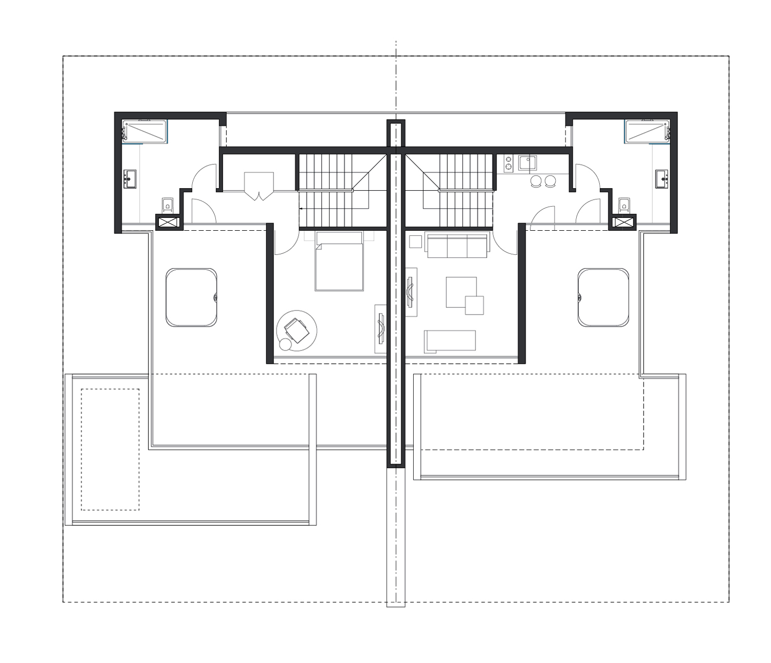 The Twin Houses plan (L 2) }