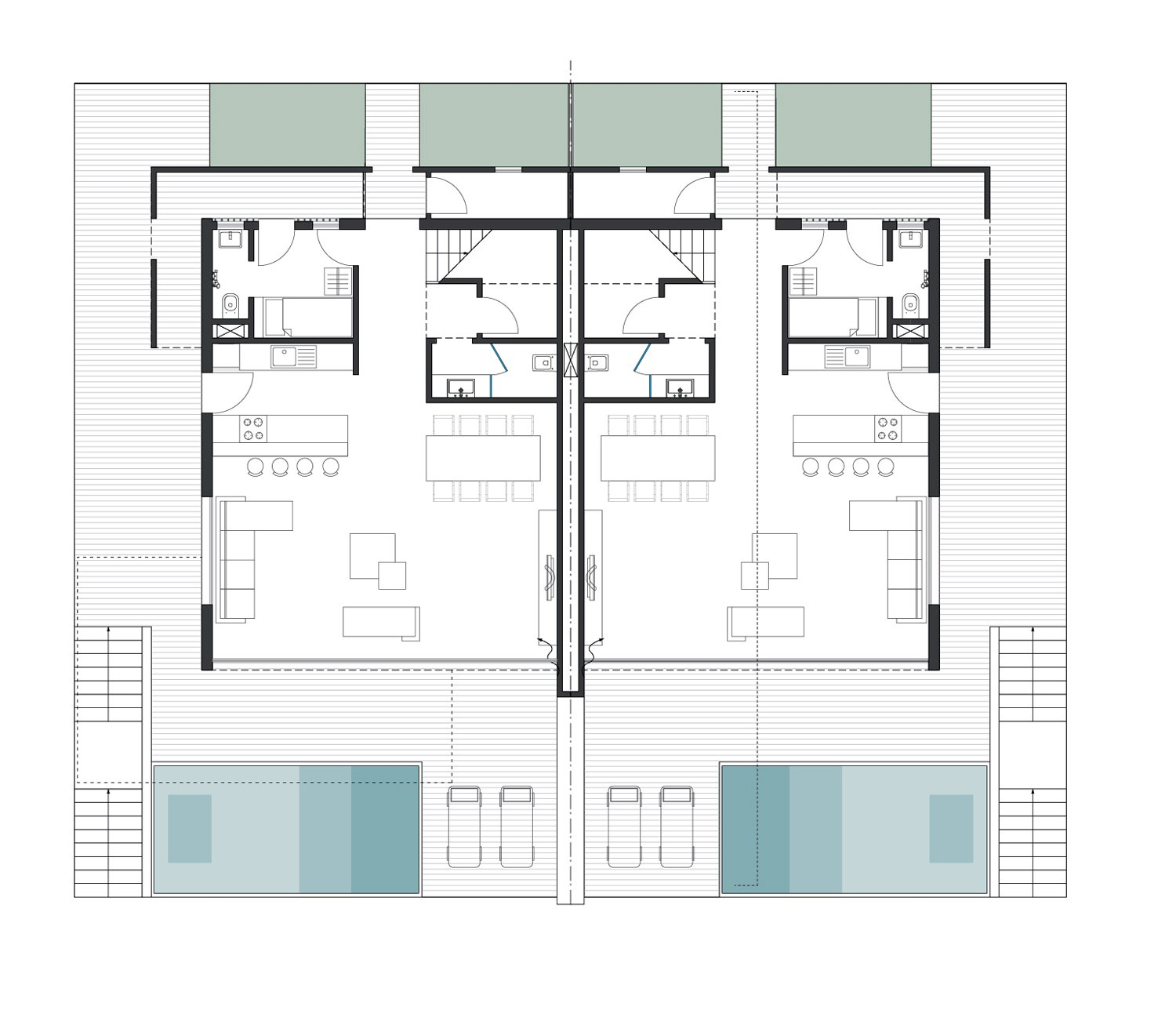 The Twin Houses plan (Ground Floor) }