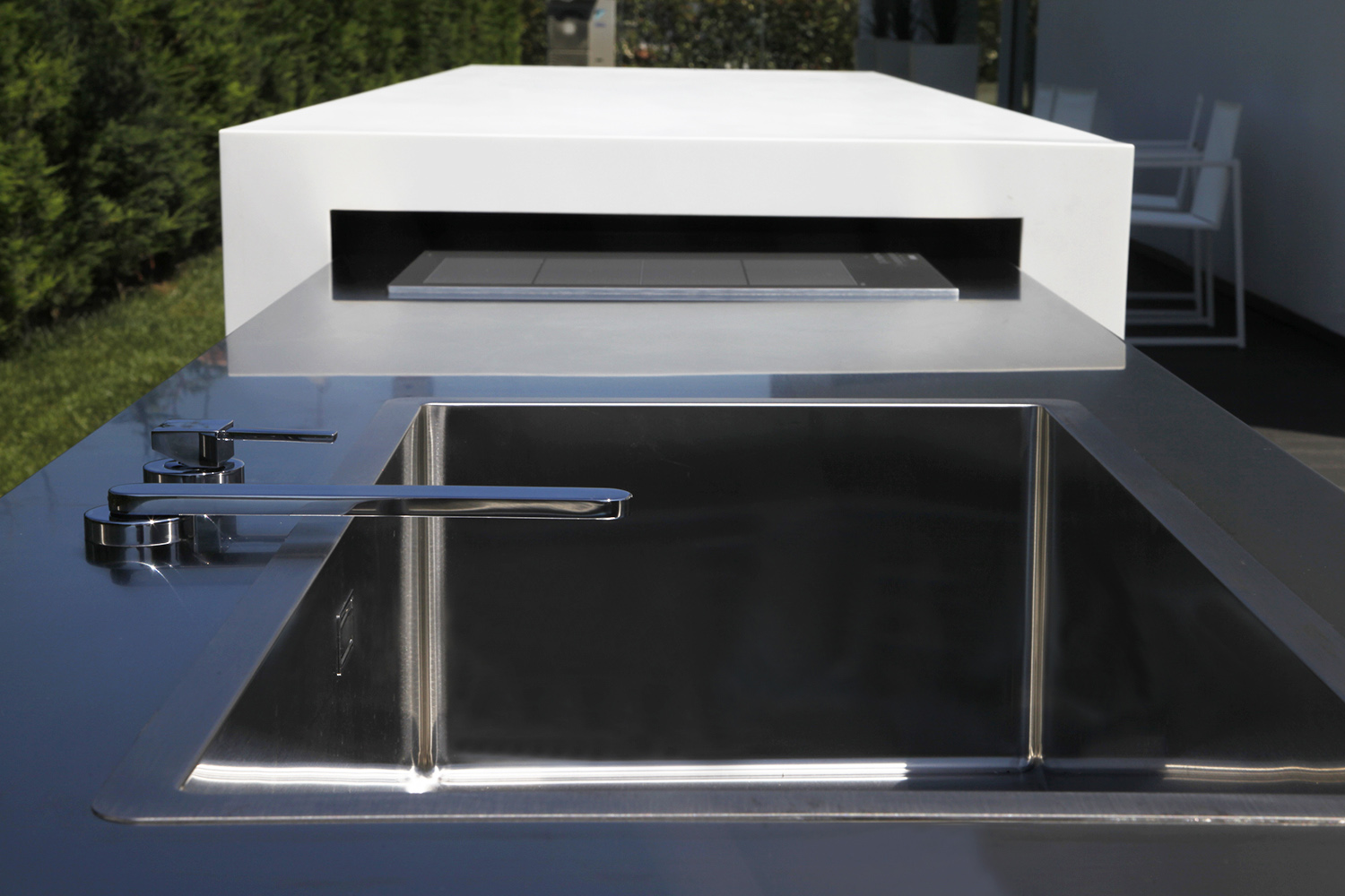Detail of the components designed to hide inside the stainless steel cabinet  3ndy Studio