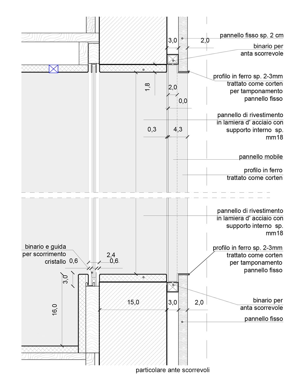 Particolare costruttivo apertura sulla zona living Arch. Camilla Sangalli