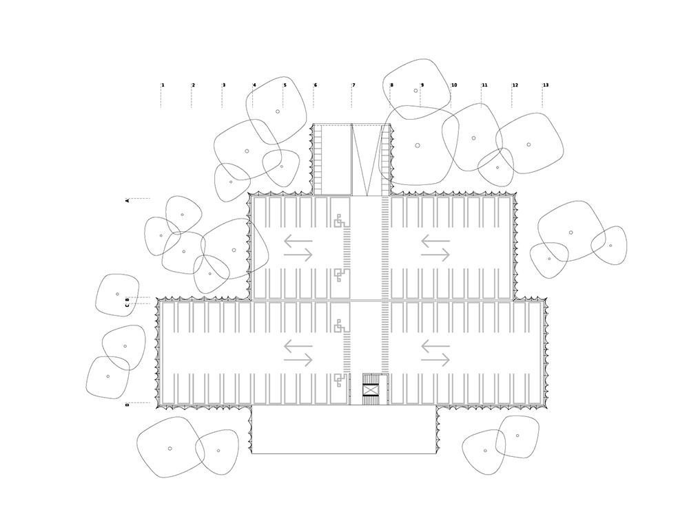 car park upper floor plan }