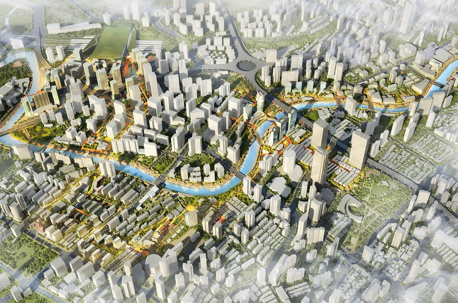 Shanghai's Newest Waterfront: The meandering Suzhou Creek intertwines with a new undulating urban spine, delineating a series of urban and recreational nodes along the riverfront