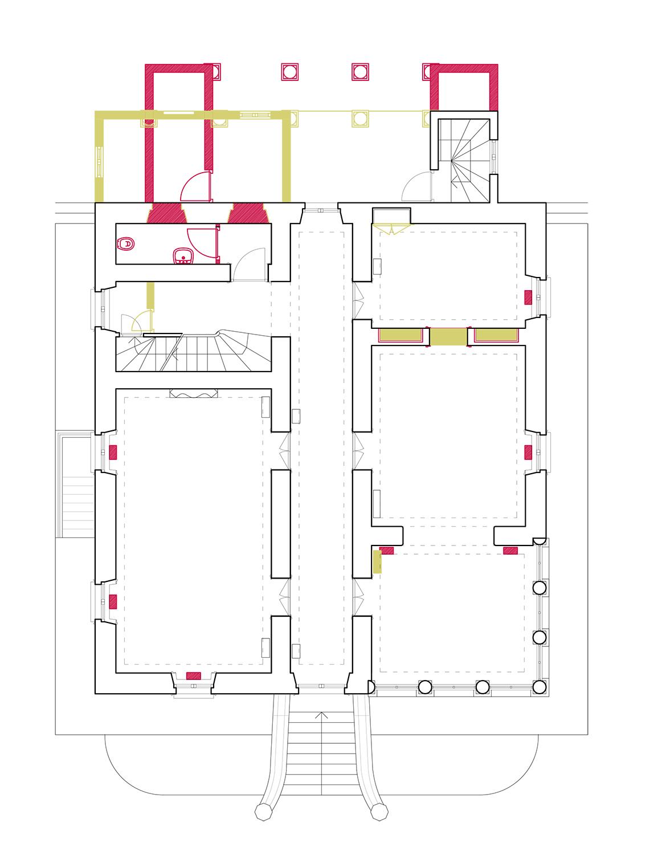 Planimetria: Piano Terra, interventi di ripristino ed ampliamento del portico e nella cucina  Lucchini Architetti}