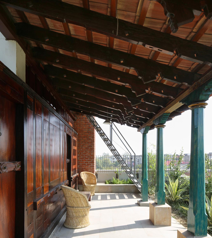 Reclaimed timber used for the terrace verandah Edmund Sumner}