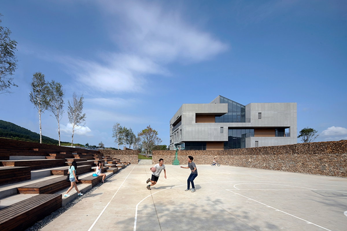 2-View from basketball court to east facade