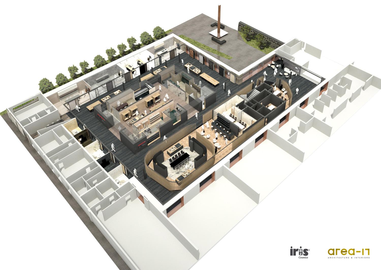 Vista assonometrica dell'intervento Area-17 Architecture & Interiors}