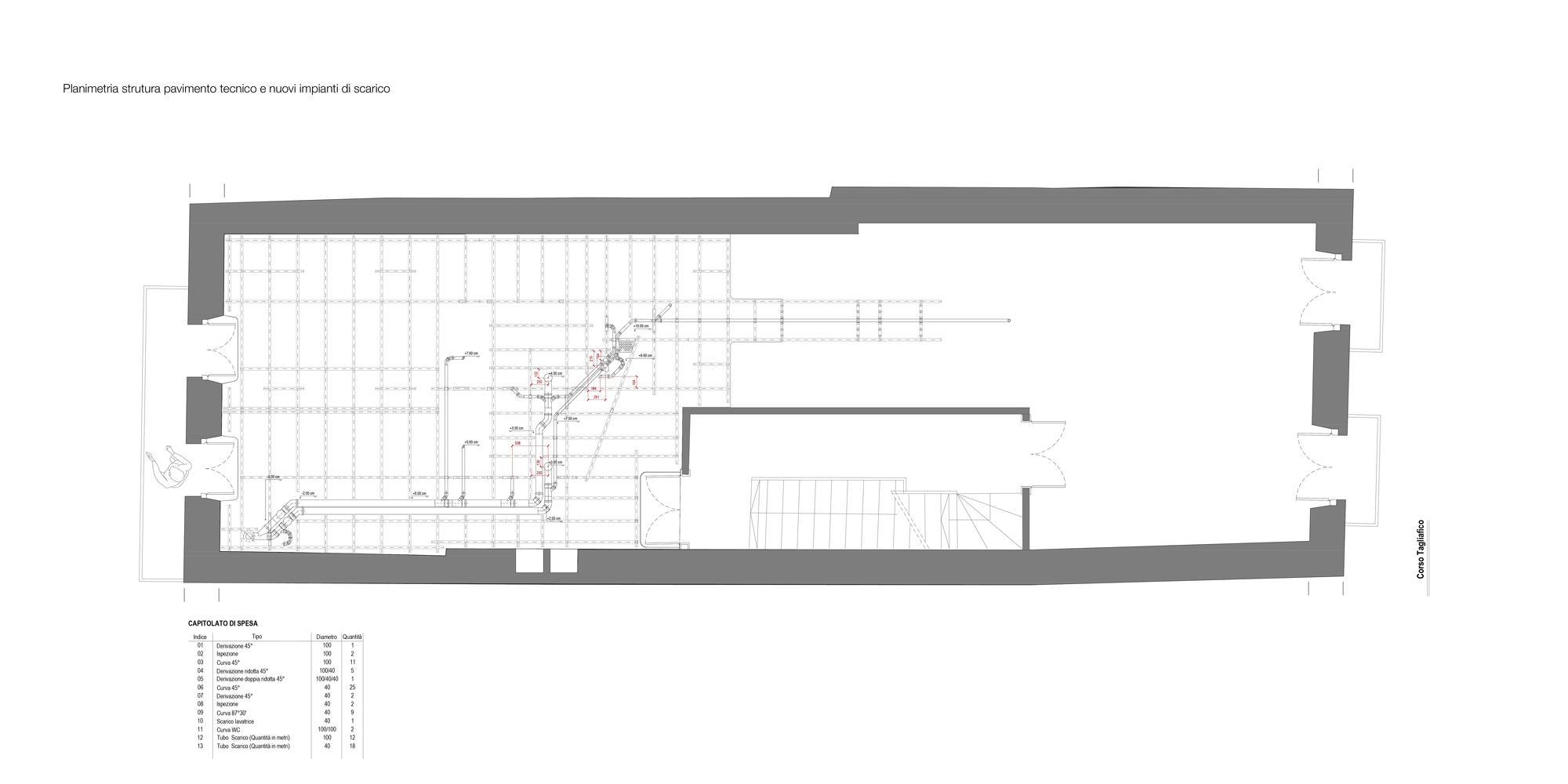 Planimetria nuovo impianto di scarico. Le nuove installazioni sono state progettate in modo integrato col resto delle strutture e realizzate senza interventi invasivi. }