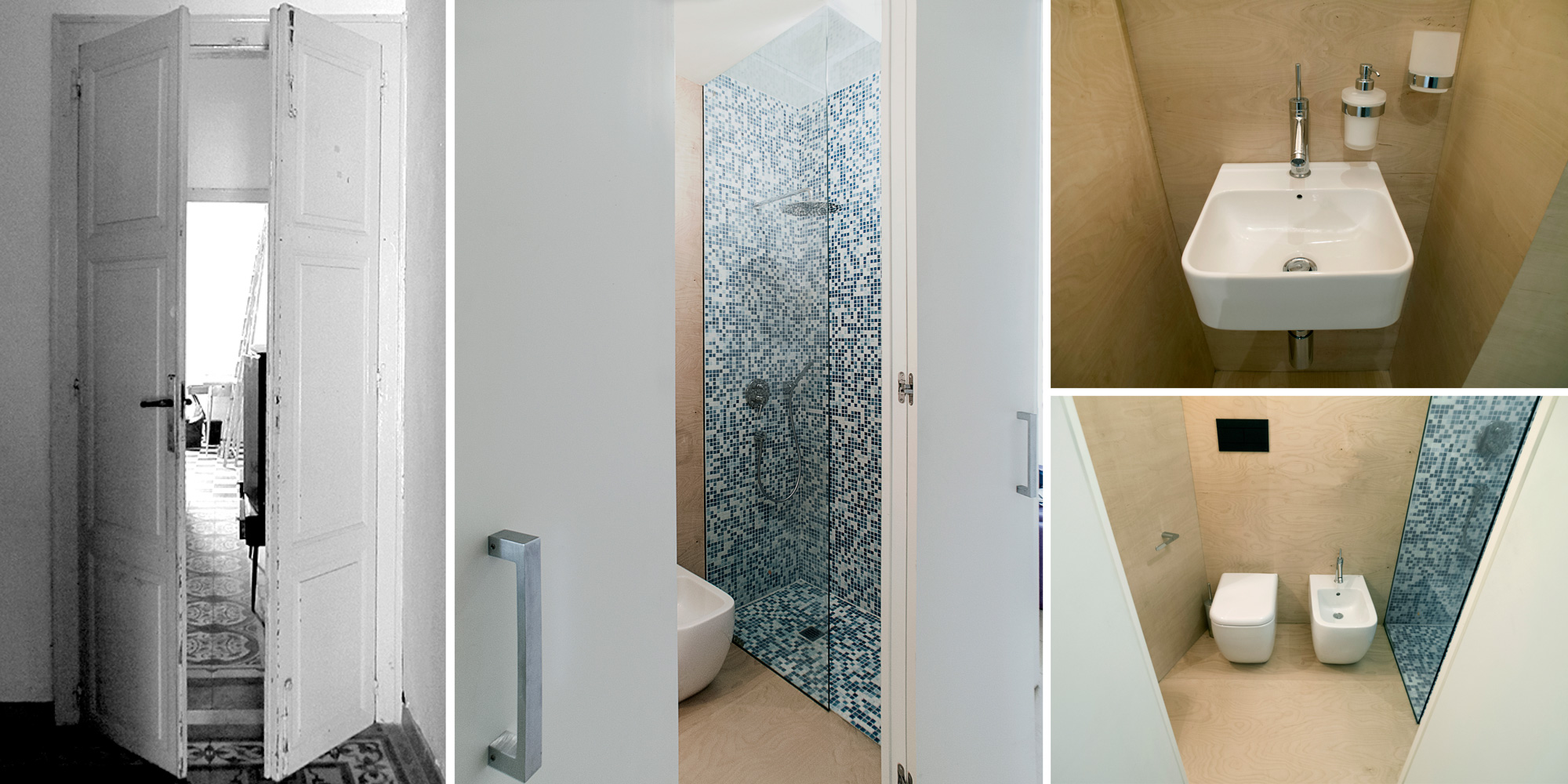 Dettagli del bagno padronale. Porte a tutta altezza e a doppia anta danno accesso ai bagni rielaborando la struttura delle porte interne originali per aumentare la funzionalità e accessibilità nello spazio
