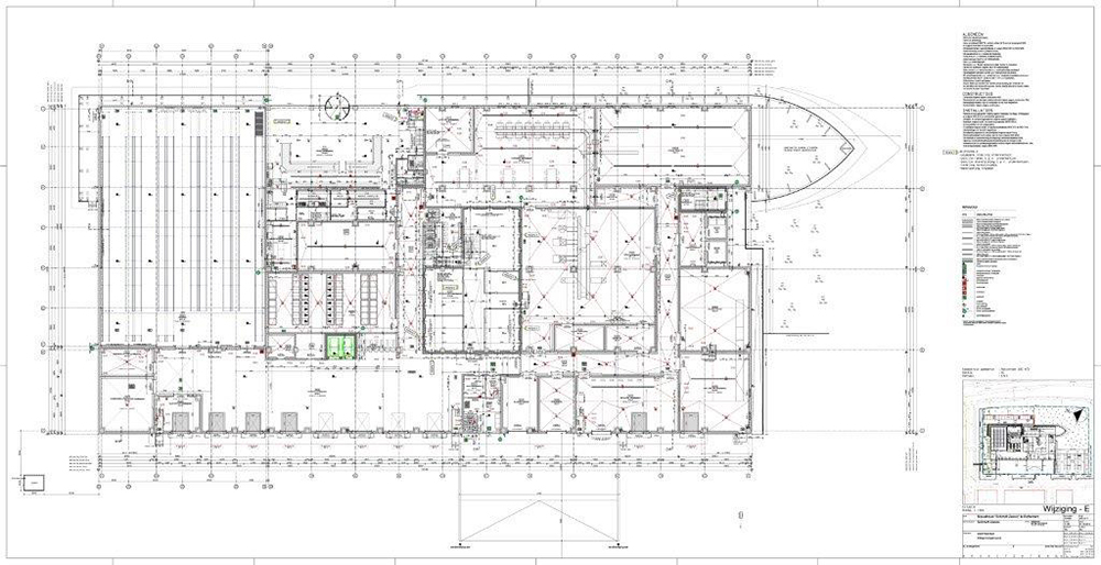 ground floor with production area, shop and order office and on the right side the main freezeer }