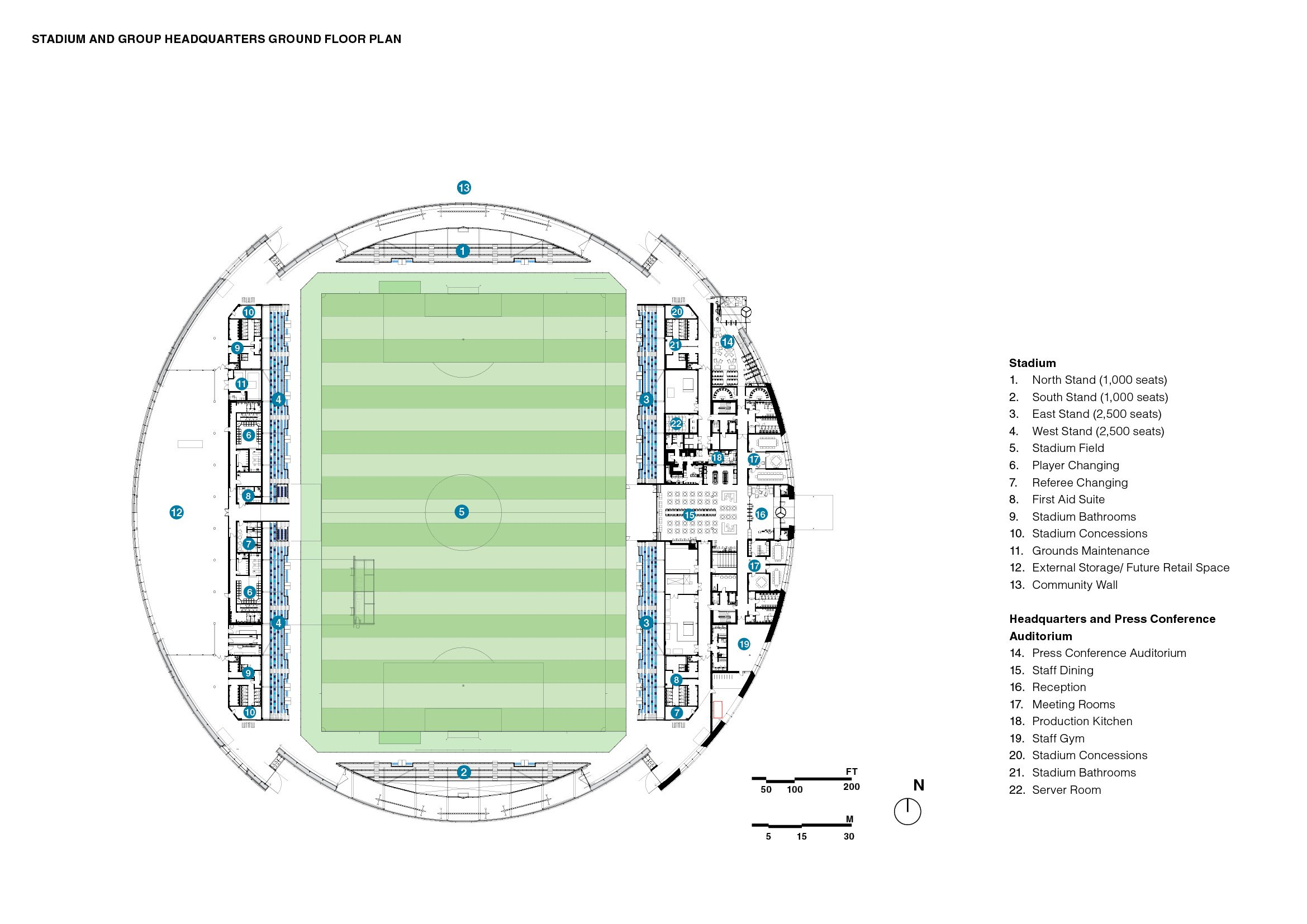 Stadium and Club Headquarters ground floor plan }