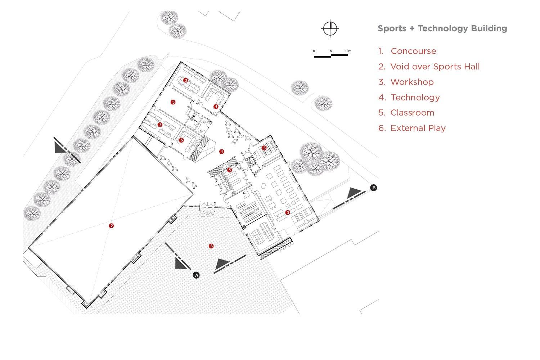 Sports and Technology block Plan 01 Coady Architects / ELD Partnership}