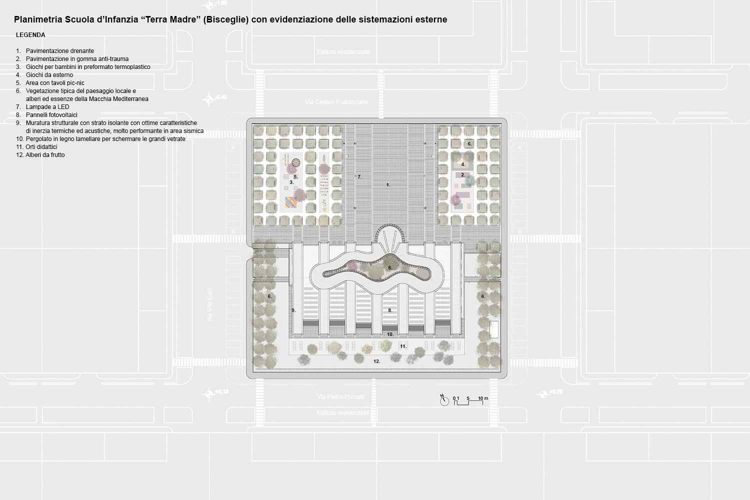Plan of the kindergarten, of the gardens and the public plaza Luca Peralta}