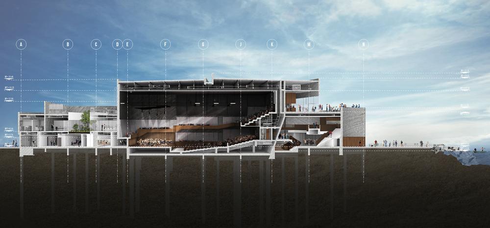Render section with atrium and mezzanines.   Rojkind Arquitectos}