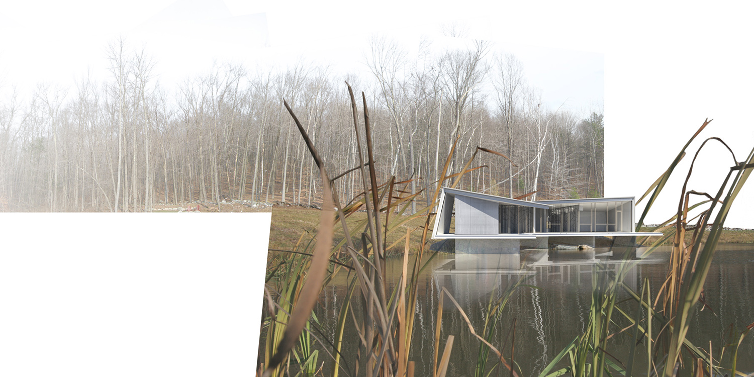 Looking across the pond to the house in fall. Dean/Wolf Architects}