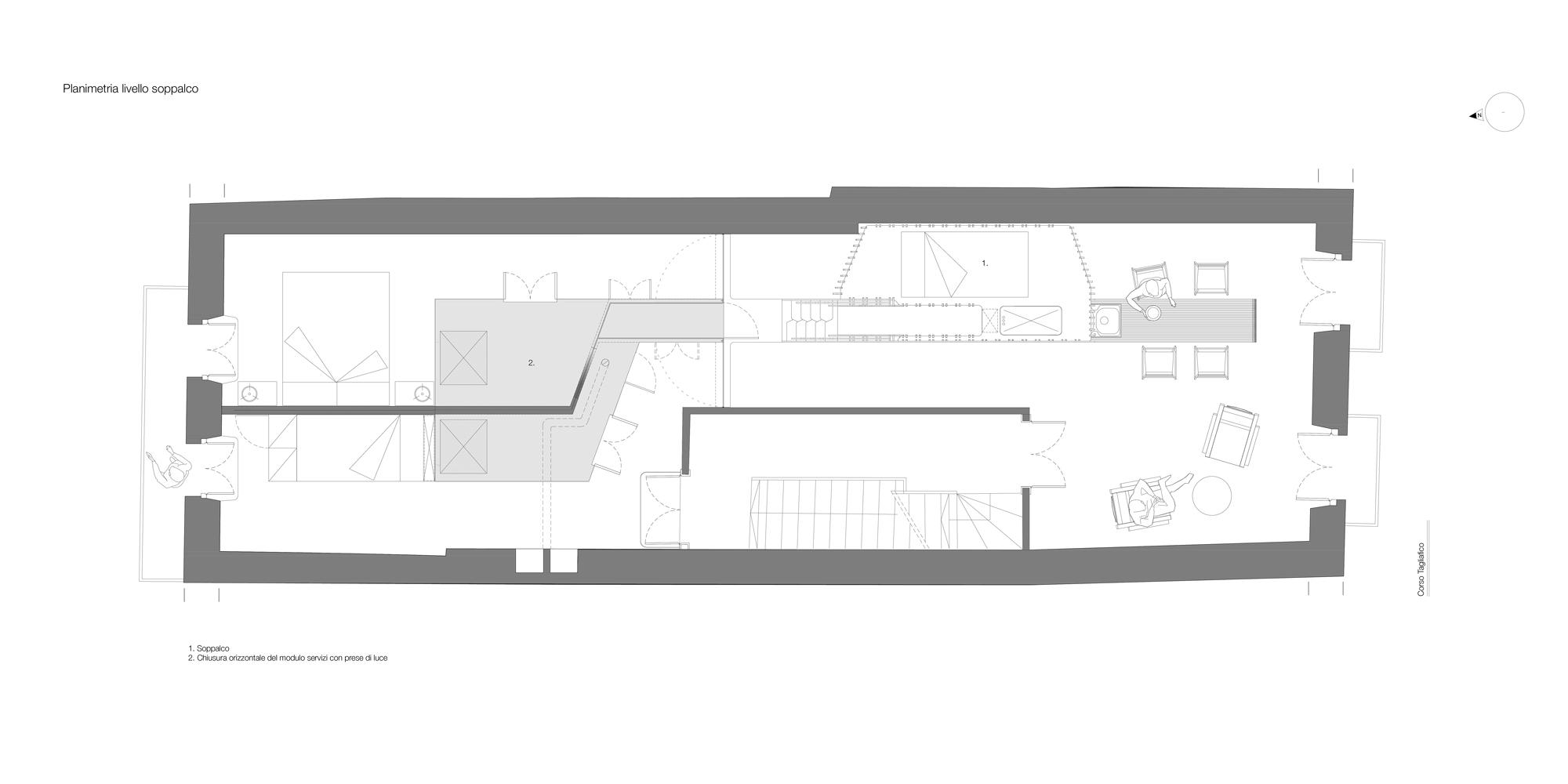 Planimetria Livello Soppalco. Il soppalco ospita un posto letto da una piazza e mezzo. }