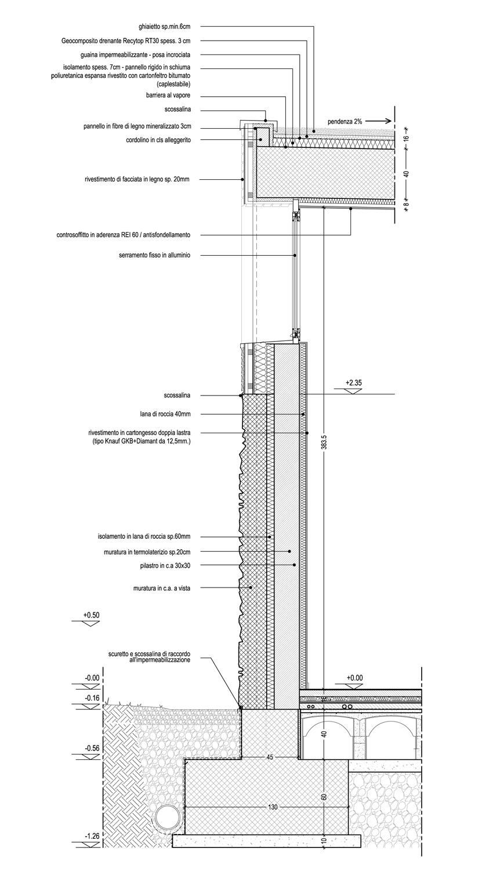 Sezione di dettaglio di facciata nord con serramento }