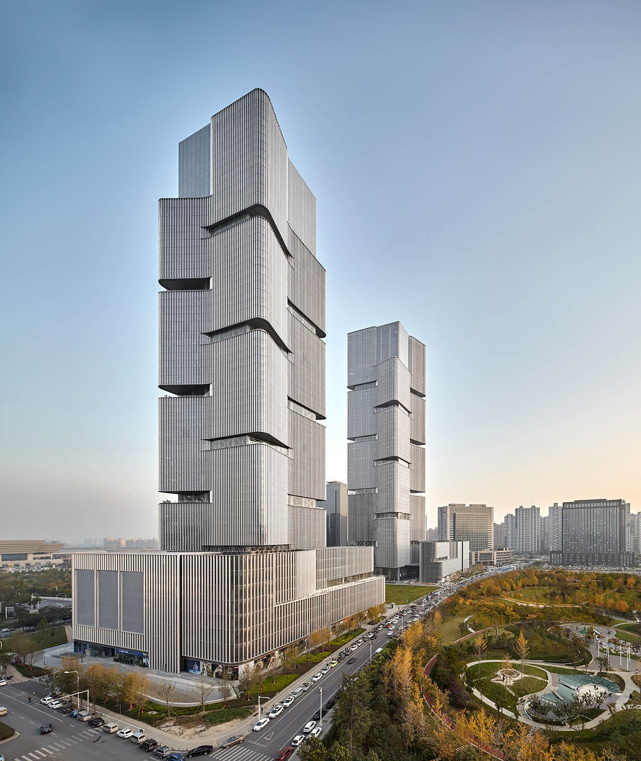 View of towers and plinth buildings © Zeng Jianghe / gmp Architects