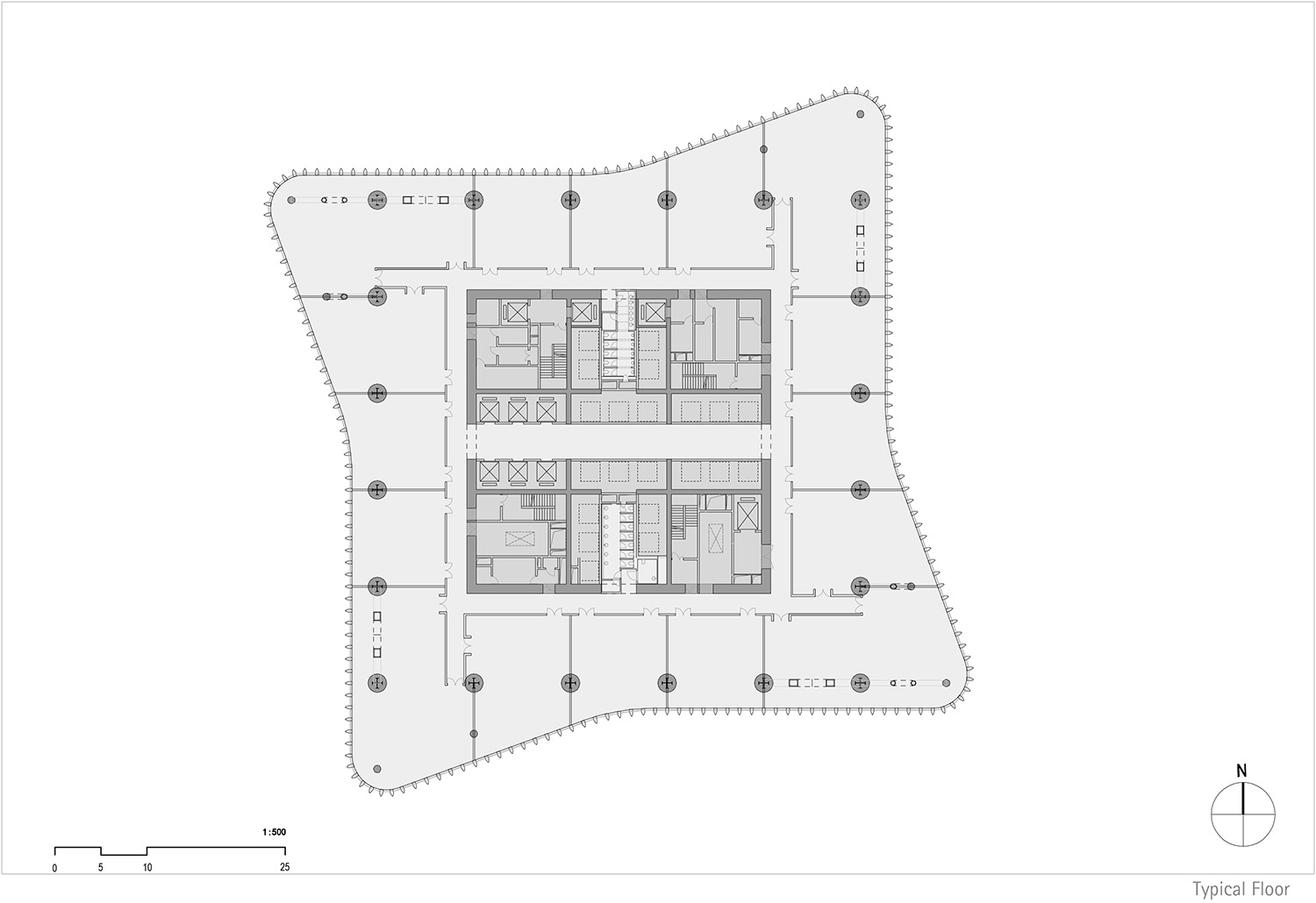 Floor plan north tower, level 12 © gmp Architects}