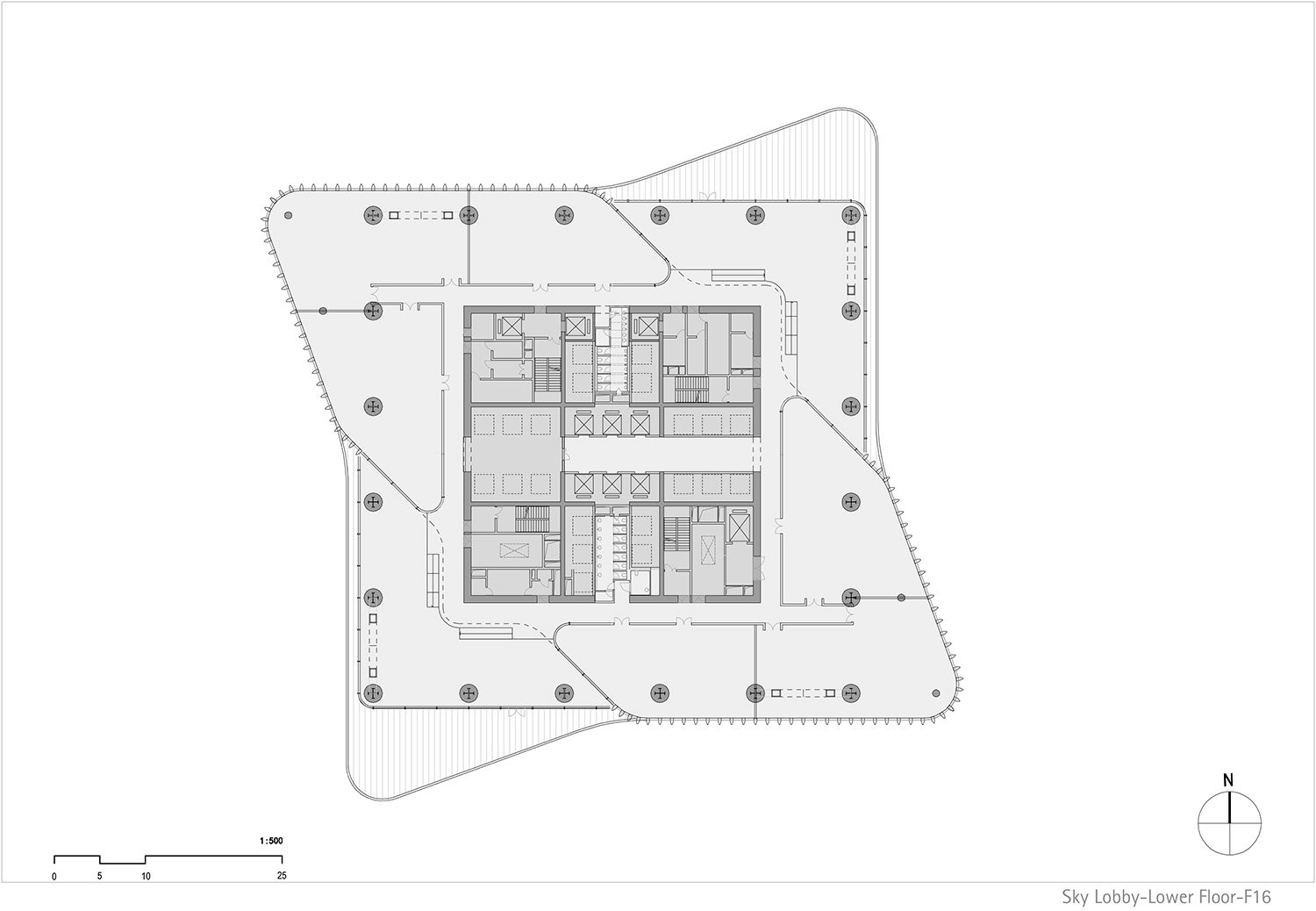 Floor plan north tower, level 16 © gmp Architects}