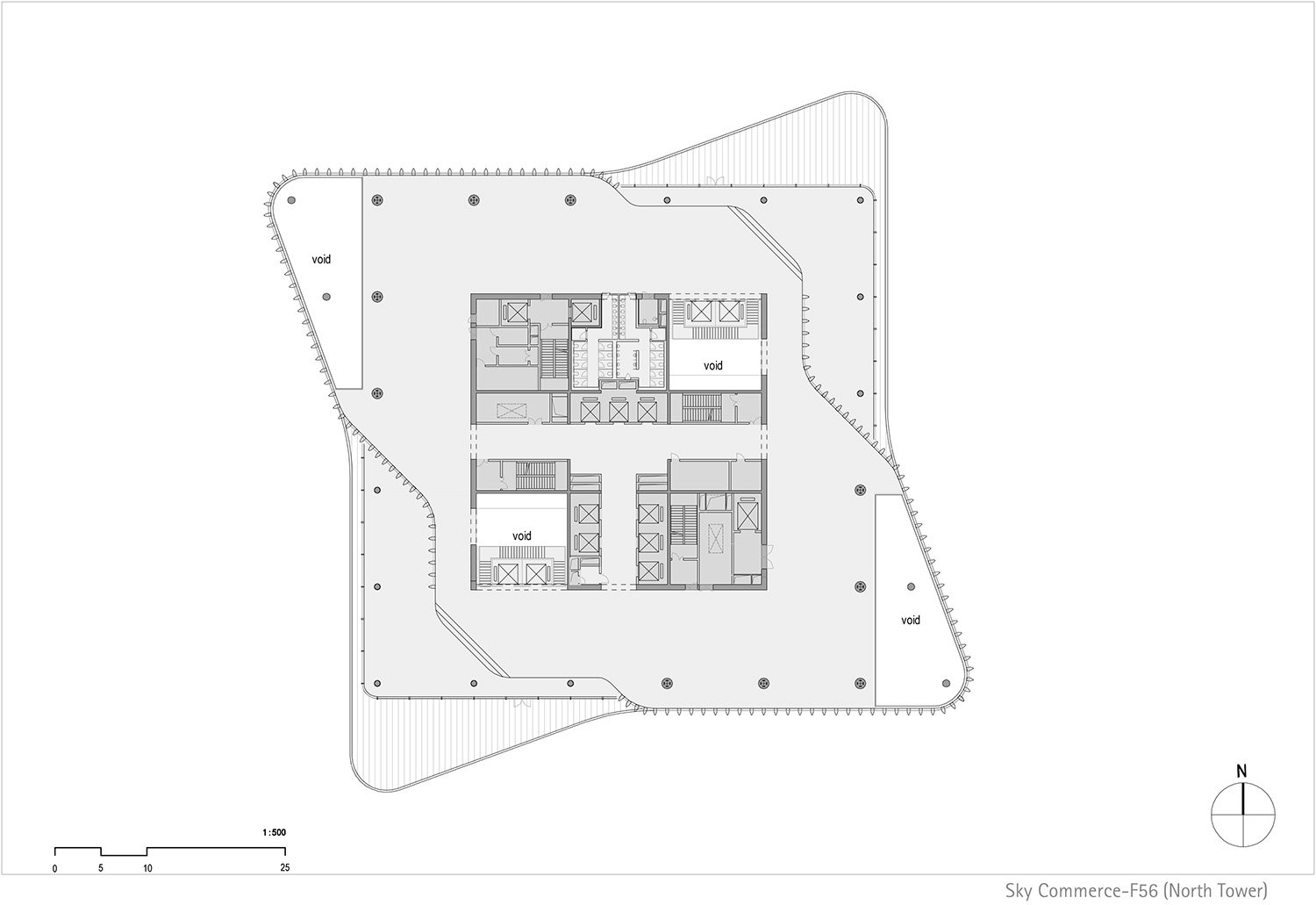 Floor plan north tower, level 56 © gmp Architects}