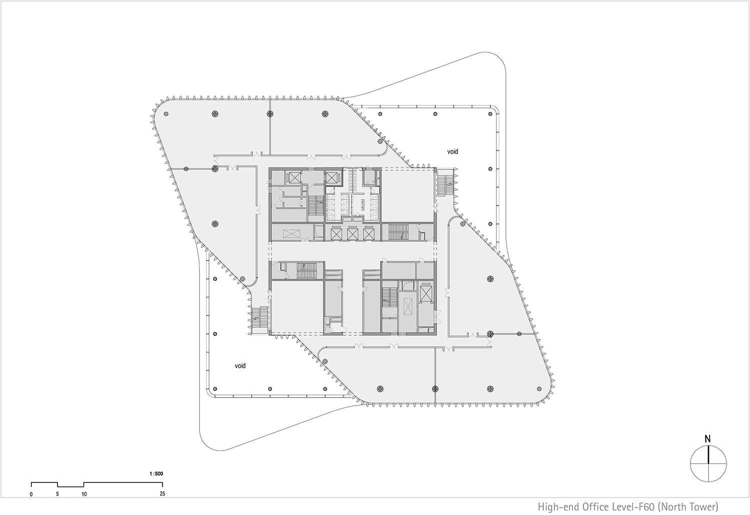 Floor plan north tower, level 60 © gmp Architects}