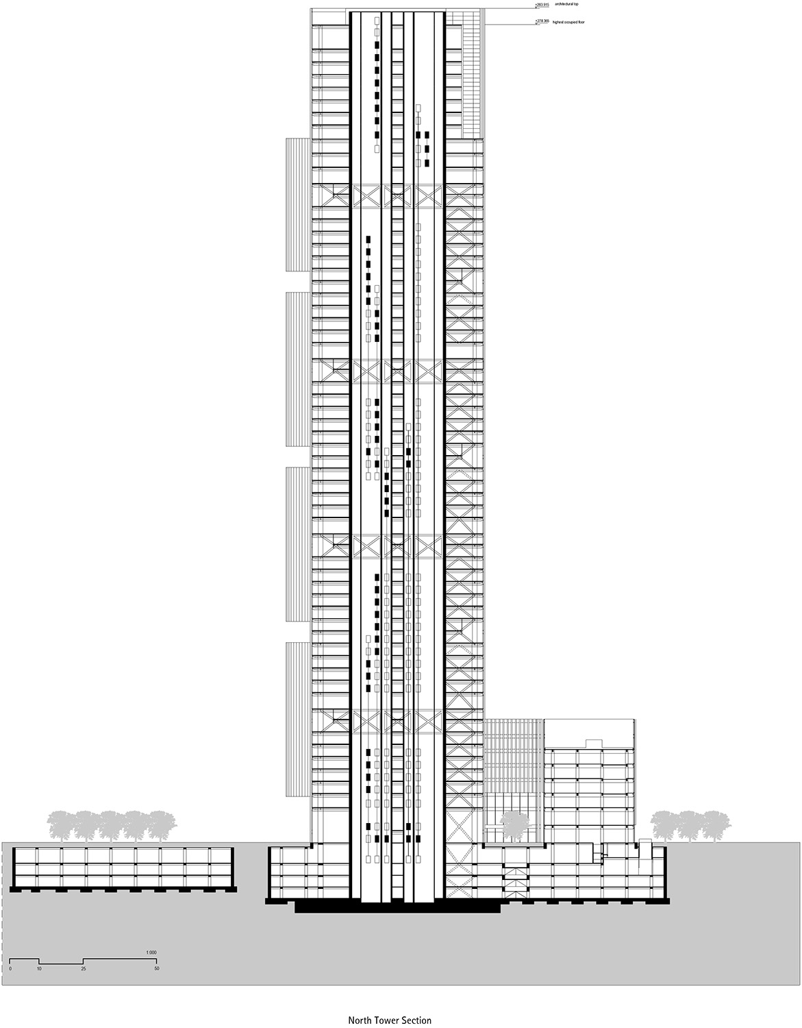 Section north tower © gmp Architects}