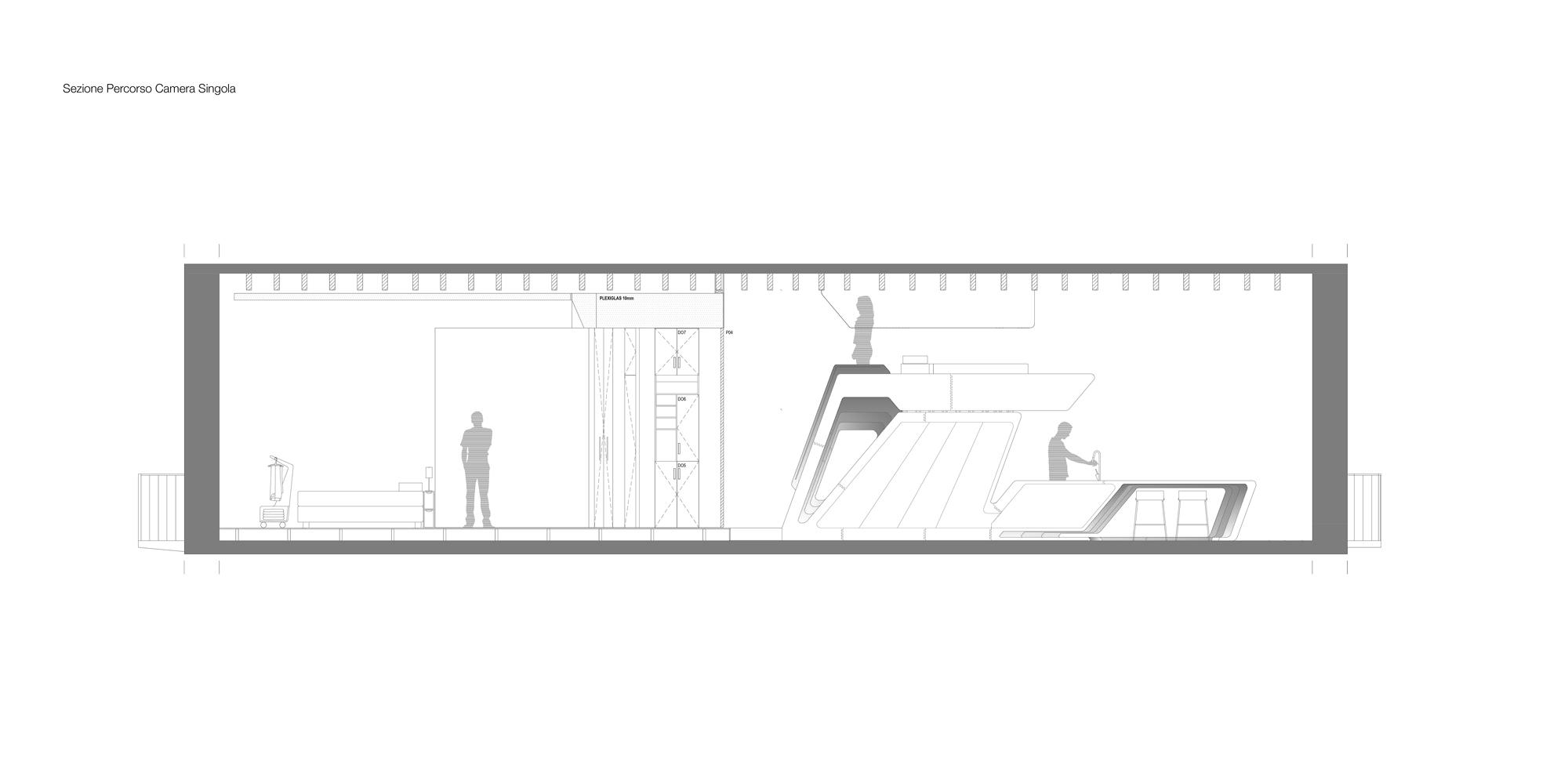 Sezione lungo il percorso verso la camera singola. Space Organizer si sviluppa nelle tre dimensioni sfruttando la notevole altezza libera.  }