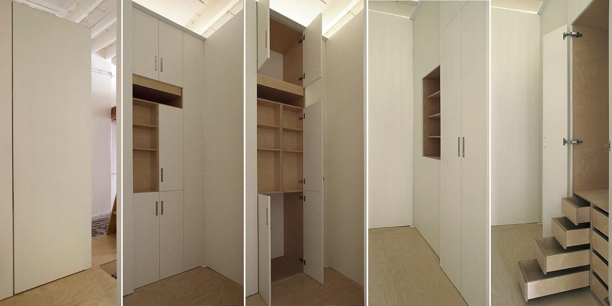 Vista dei vani del modulo multifunzione che si alternano sui due lati per servire indipendentemente le due camere da letto.