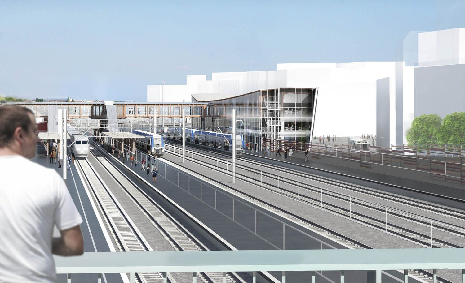 West facade from the bridge © SNCF-AREP / Illustrator: LAcellule 3D, Olivier Jame}