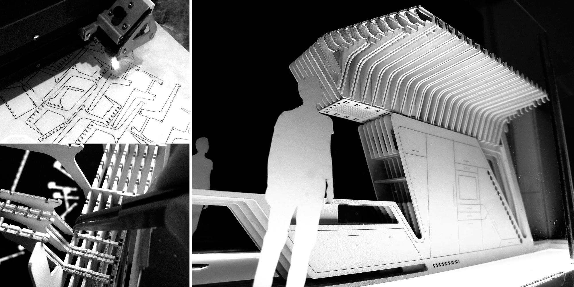 Prototipo di studio di tutto l'intervento in scala 1:20 fabbricato digitalmente con taglio laser. }