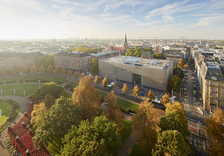 Aerial view of the main facade at Friedrichsplatz © Kunsthalle Mannheim,  Lukac Diehl