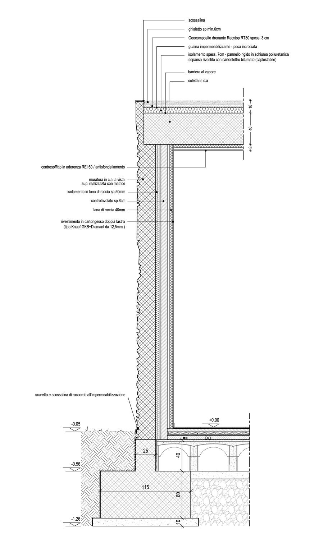 Sezione di dettaglio della facciata dei laboratori lato strada 02 }