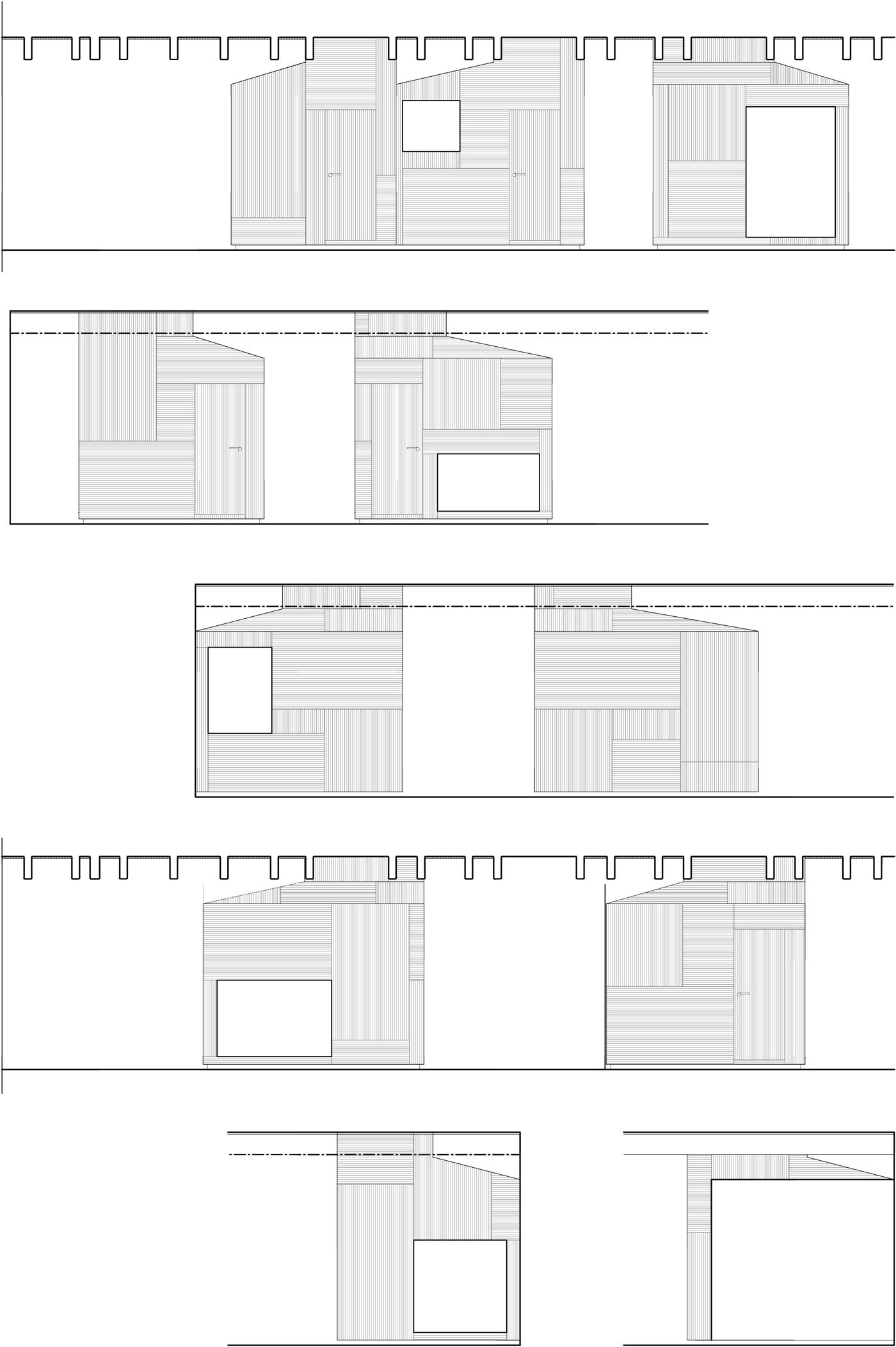 Elevation of Conference Huts. }