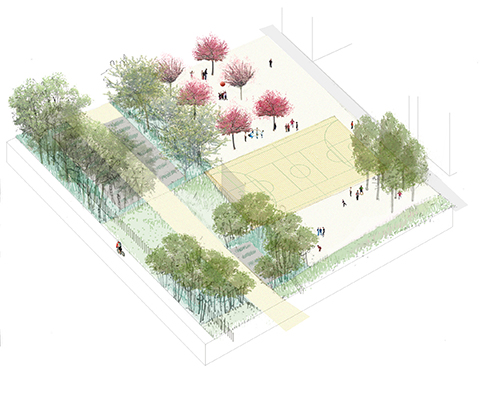Axonometry with landscape detailed ©AAVP ARCHITECTURE and Atelier Roberta }