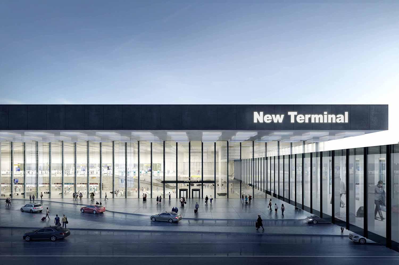 Transparent façade of the new terminal Filippo Bolognese