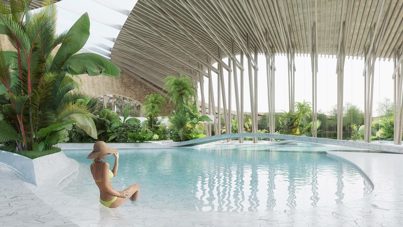 indjija spa resort 16 pool area perspective view ENOTA}