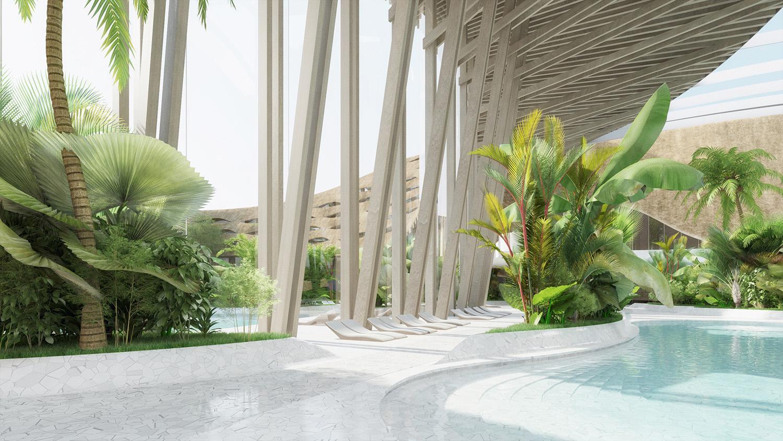 indjija spa resort 17 pool area perspective view ENOTA}