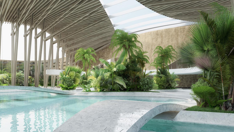 indjija spa resort 18 pool area perspective view ENOTA}