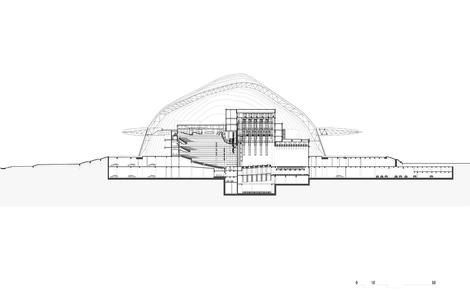 Section of the opera house © gmp Architects}