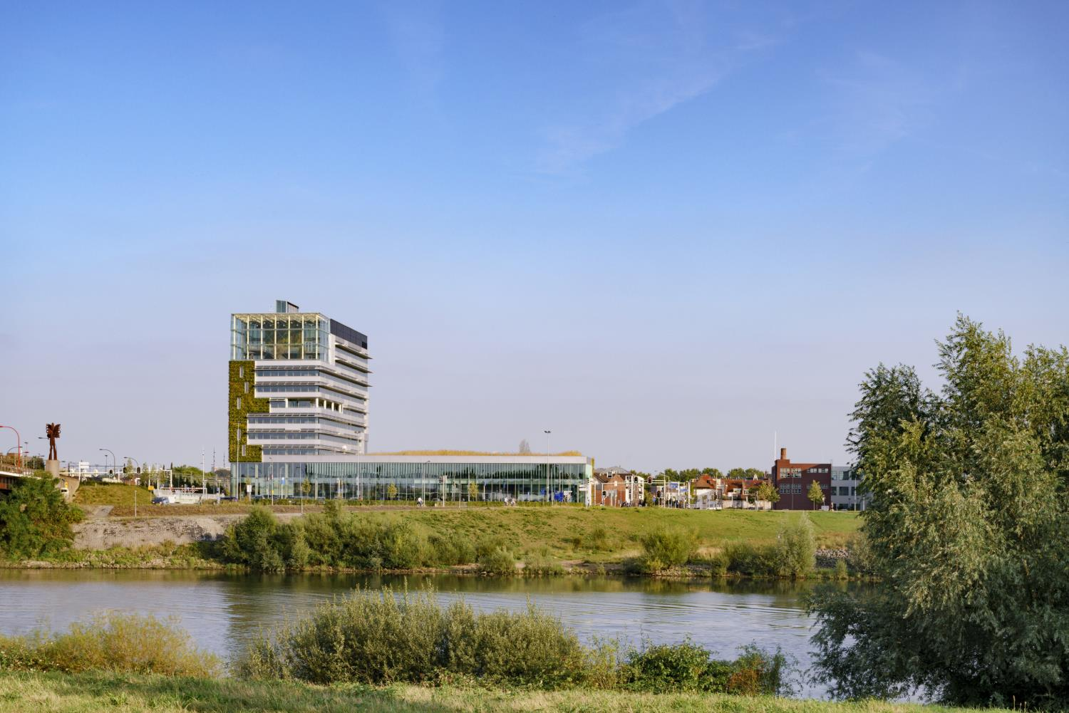 The City Hall is located next to the Maas river lifeblood of the region