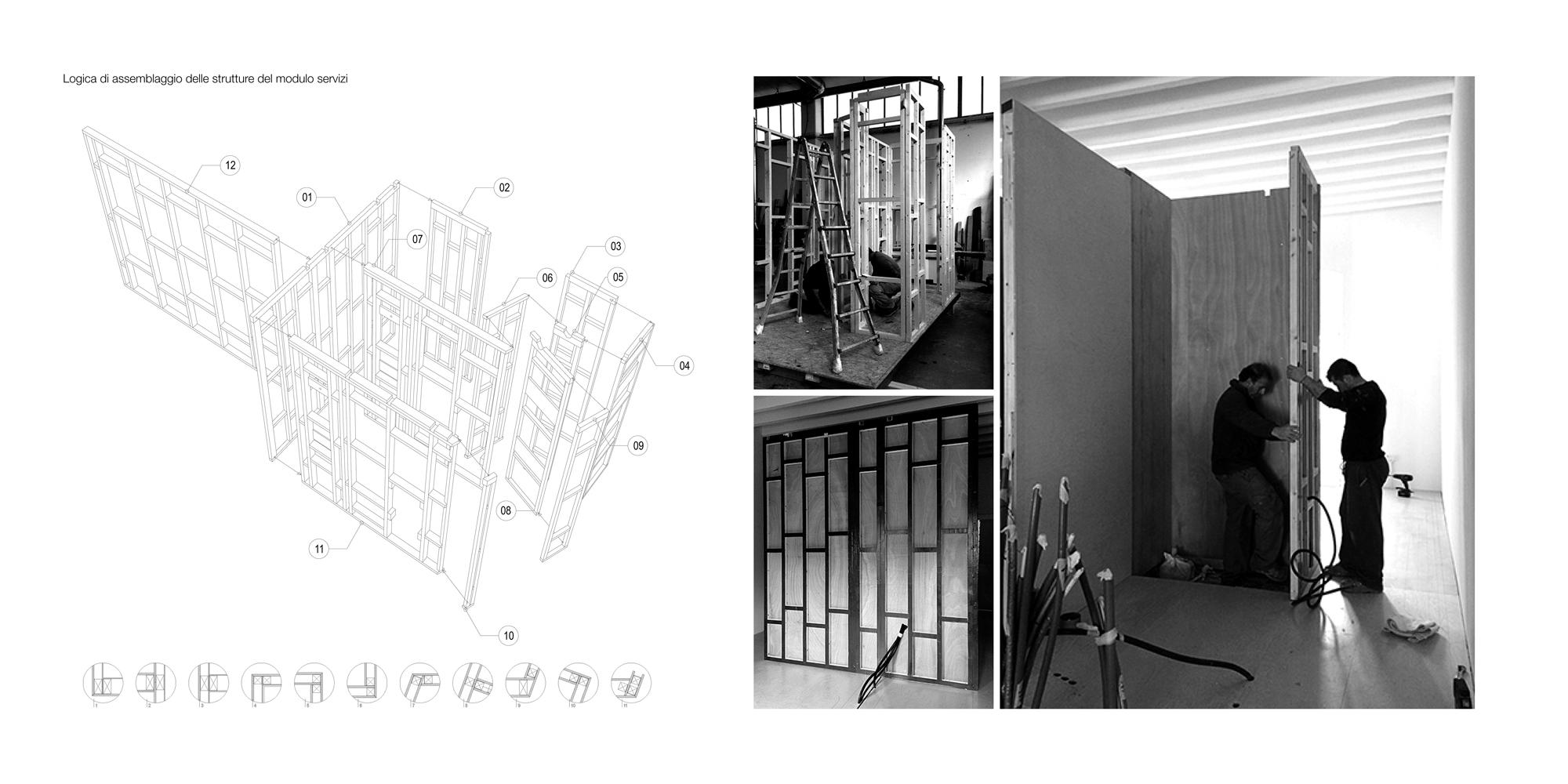 Dettaglio di assemblaggio delle strutture del modulo servizi anch'esse pre-assemblate in officina. }