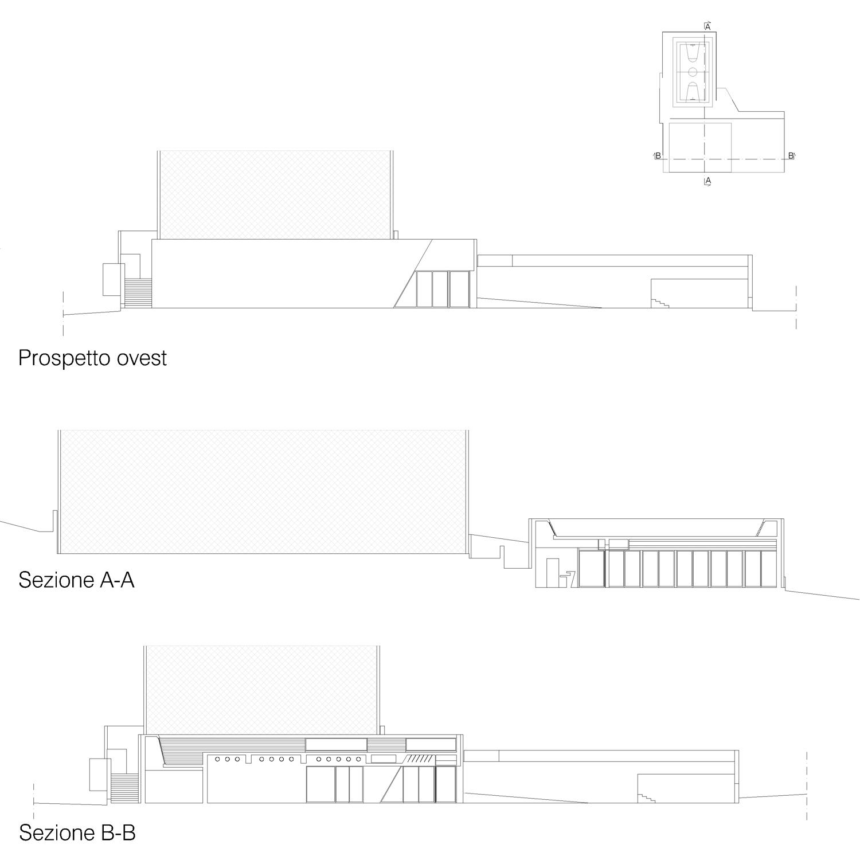 Corpo B - Peospetto ovest / Sezione A-A / Sezione B-B Giuseppe Todaro Architect}