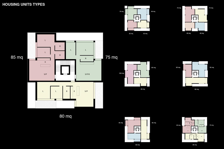 Planimetria delle tipologie di appartamenti / Housing units types plan Antonio Iascone Ingegneri Architetti}