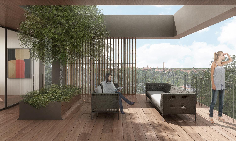 Vista del terrazzo dell'attico / Penthouse terrace view Antonio Iascone Ingegneri Architetti