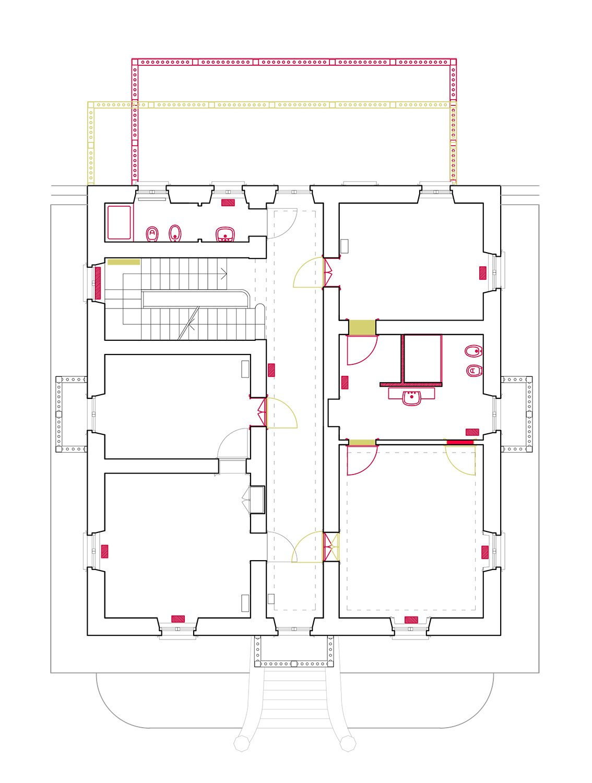 Planimetria: Piano Primo, nuovo bagno padronale ed ampliamento della terrazza a Nord Lucchini Architetti}