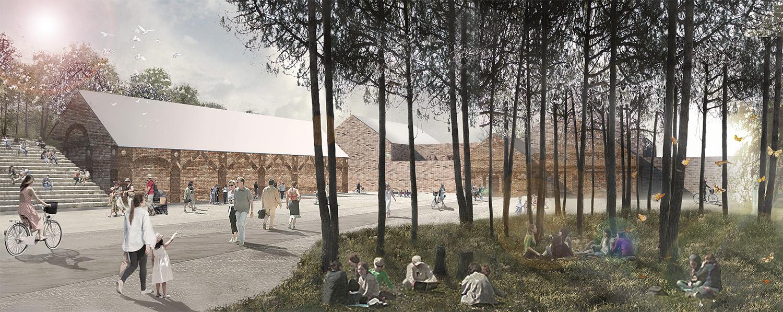 Vista dal parco centrale dell'area workshop e laboratori